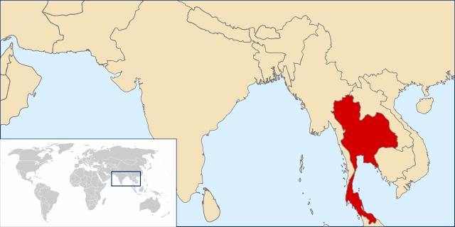 Karta Thailand i asien