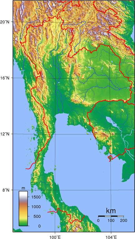 Thailand topografisk karta